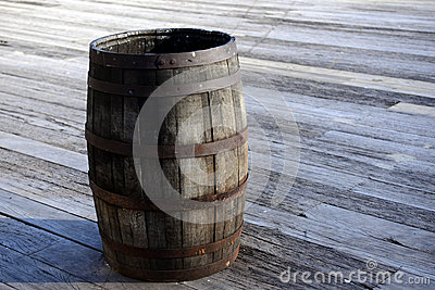 Old wooden barrel cask