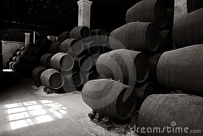 Old wooden barrels of sherry in bodega