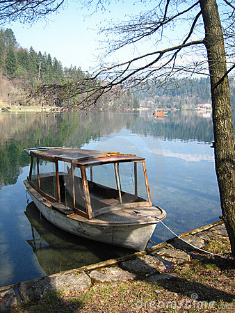 Old Wooden Boat by Lake