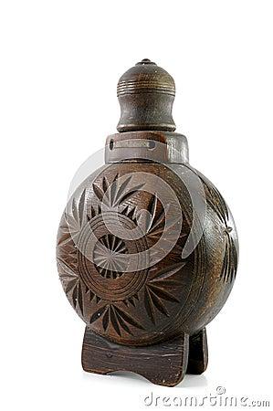 Old wooden bottle