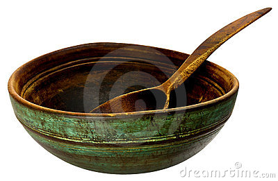 Old wooden bowl and spoon