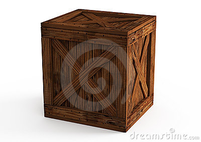 Old wooden box  on white