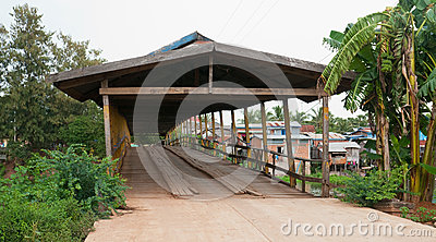 Old wooden bridge in Cambodia