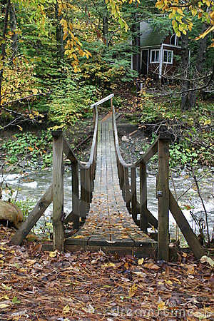 Old Wooden Bridge over stream