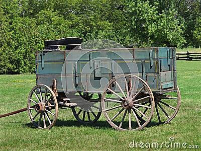 Old wooden buckboard farm wagon