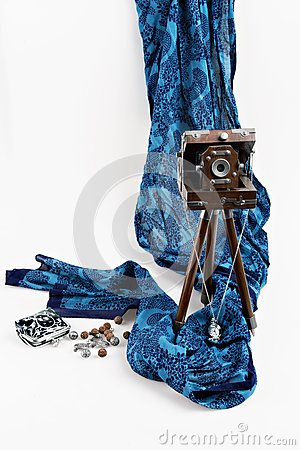 Old Wooden Camera and scarf