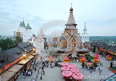 Old wooden church in entertainment center Kremlin Editorial Photo