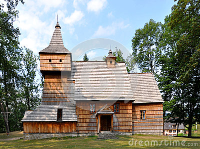 Old Wooden Church in Grywald, Poland