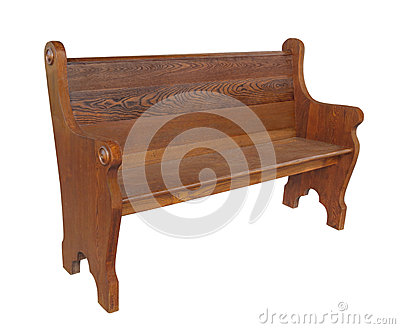 Old wooden church pew isolated.