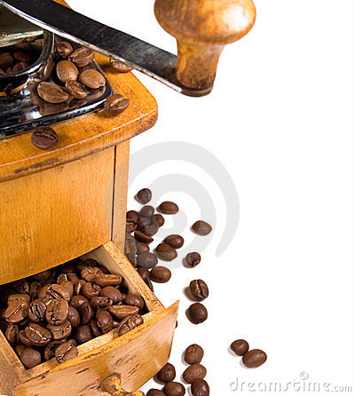 Old wooden coffee mill
