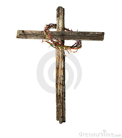 Old Wooden Cross with Bloody Crown of Thorns