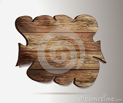 Old, wooden 3d sign - element for design. wooden mockup in realism style web banner isolated on light background. vector graphics Vector Illustration