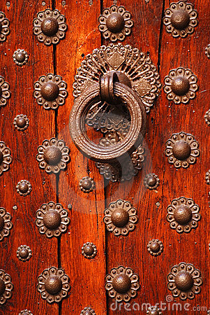 Old Wooden Door And Knocker