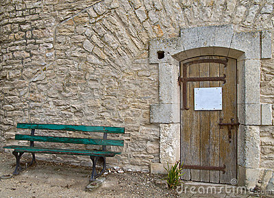 Old wooden door of a medieval building