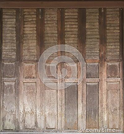 Old Wooden Fold Door Stock Photo