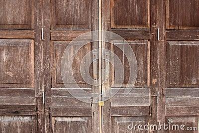 Old wooden folding door. Stock Photo