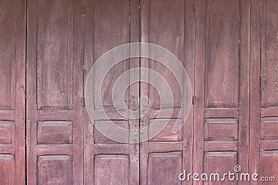 Old wooden folding door Stock Photo