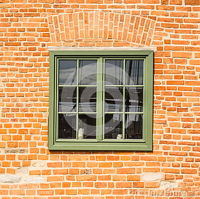 Free Old Wooden Green Window In A Brick Wall Royalty Free Stock Photography - 73214687