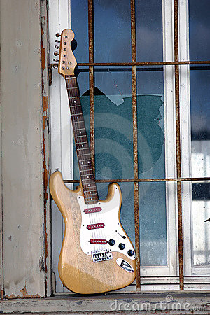 Old wooden guitar