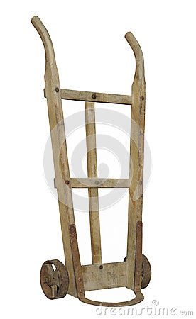 Old wooden handcart isolated.