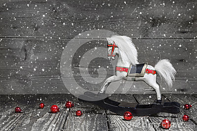 Old wooden horse - shabby chic Christmas decoration - background