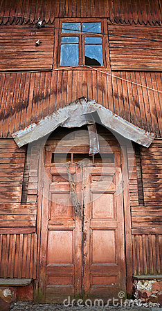 Old wooden house facade