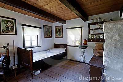 Old Wooden House Interior Editorial Photo