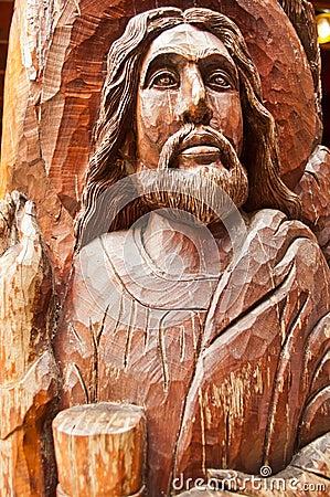 Old wooden jesus sculpture