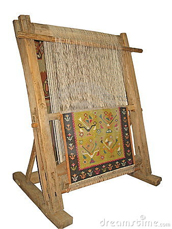 Old wooden loom isolated