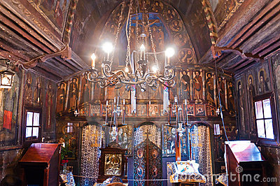 Old wooden monastery interior Saint Mary