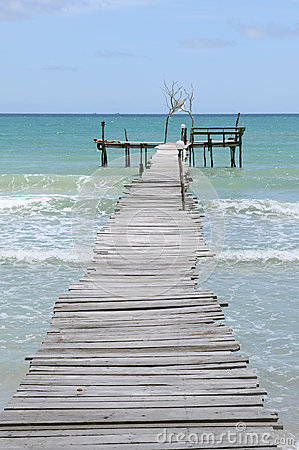 Old Wooden Pier and Blue Sea