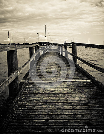 Old wooden pier on the sea, Black and White