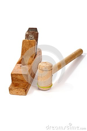 Old wooden planer and Mallet