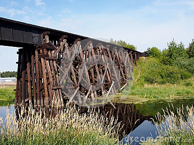 Old Wooden Railway Trestle Bridge