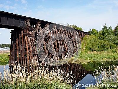 Old Wooden Railway Trestle Bridge
