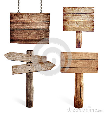 Free Old Wooden Road Signs Set Isolated Stock Photography - 38827482