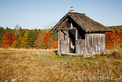 Old wooden shelter
