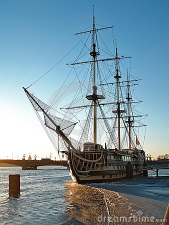 Old wooden ship, Saint-Petersburg