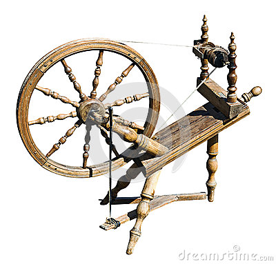 Free Old Wooden Spinning Wheel Stock Image - 34204031