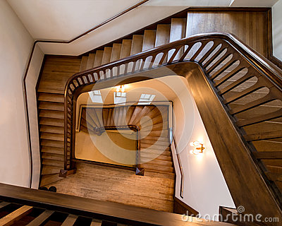 Old, wooden spiral staircase