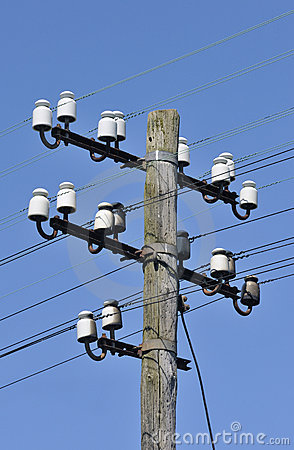 Free Old Wooden Telegraph Pole Royalty Free Stock Image - 9566936