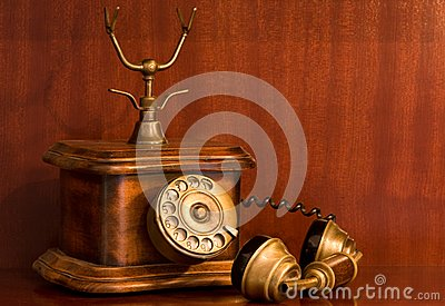 Old Wooden Telephone in use