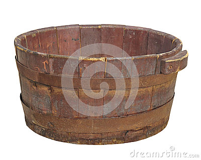 Old wooden tub isolated.