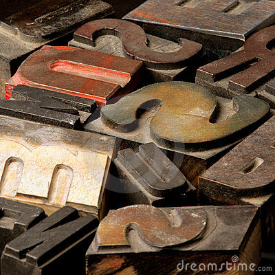 Free Old Wooden Type Letters Stock Photography - 645772