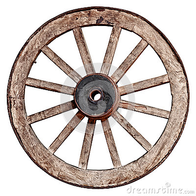 Free Old Wooden Wagon Wheel On White Background Stock Image - 31017291