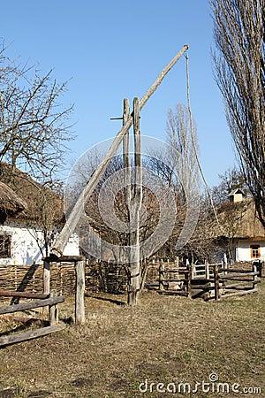 Free Old Wooden Well Crane. Ukrainian Village. Stock Photos - 56074103
