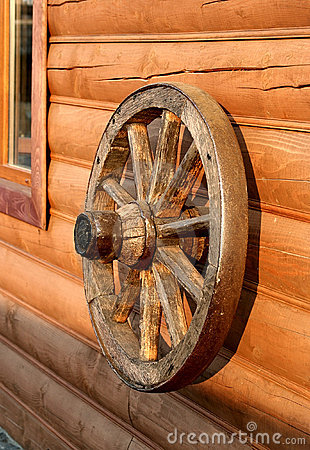 Old wooden wheel from a cart