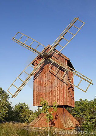 Old wooden windmill.