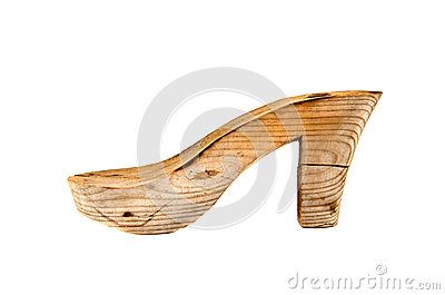 Old wooden woman shoe last isolated on white