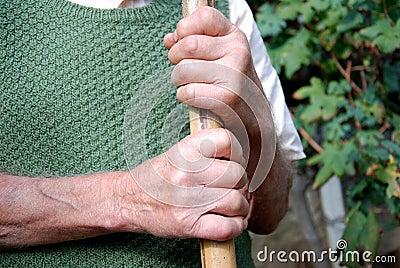Old worker hands